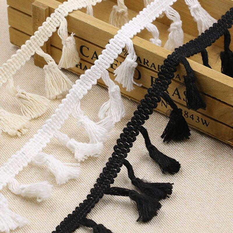 7 Yards White Black Tassel Lace Trims Fabric DIY Lace Ribbon Sewing Garment Nigeria Fabric 2020 Handmade Materials Accessories
