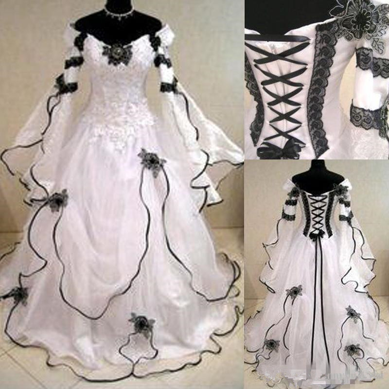 2020 Vintage Gothic A Line Wedding Dresses With Long Sleeves Black Lace Corset Back  Train Bridal Gowns For Garden Country