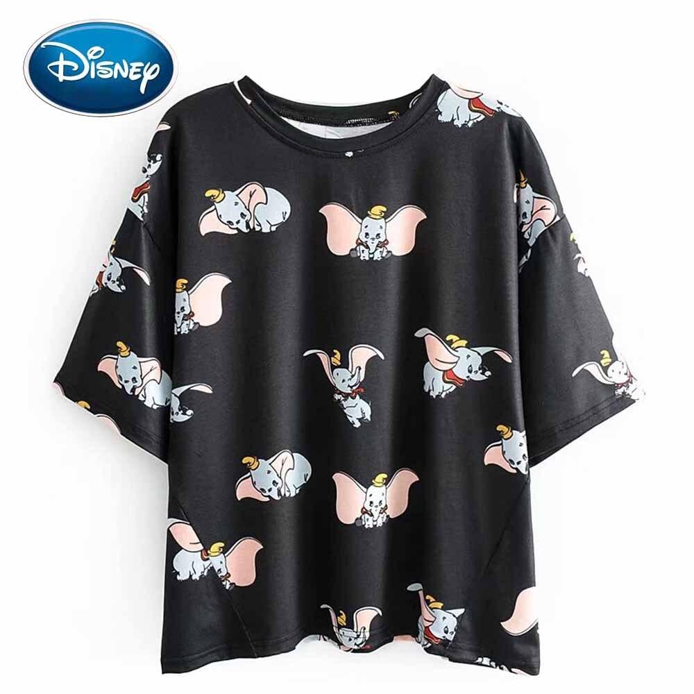 Disney Stylish Dumbo Elephant Cartoon Print O-Neck Pullover Short Sleeve Casual Women T-Shirt Loose Cute Black Tee Tops