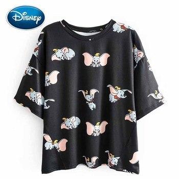 Disney стильный слон Дамбо мультфильм печати o-образным вырезом Пуловер короткий рукав Повседневная Женская футболка свободные милые черные ф...