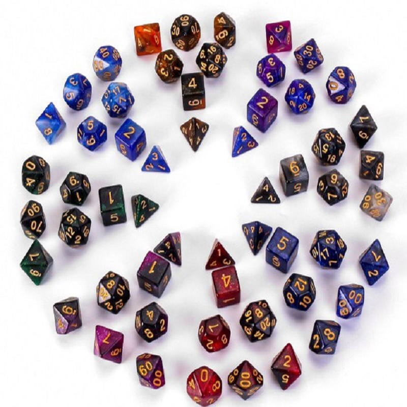 A Set Of Seven Digital Game DiceD4,D6,D8,D10,D12,D20 Starry Sky Two-color Multi-sided Board Game Dice Set