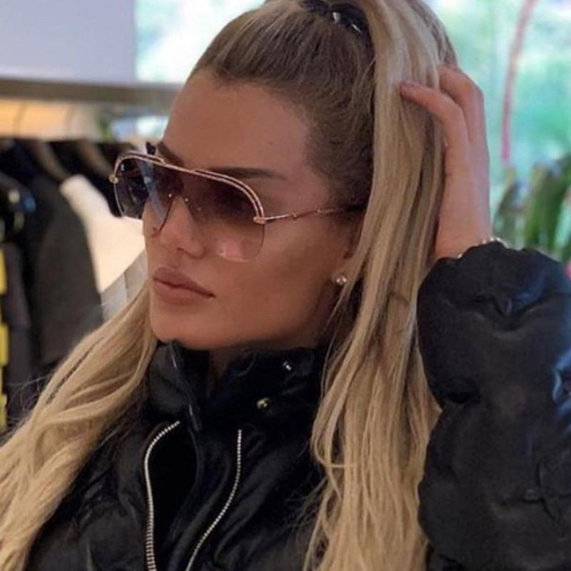 Luxury One Piece Pilot Sunglasses Metal Half Frame Oversized Brand Sun Glasses Women Gradient Oculos Gafas Zonnebril Dames
