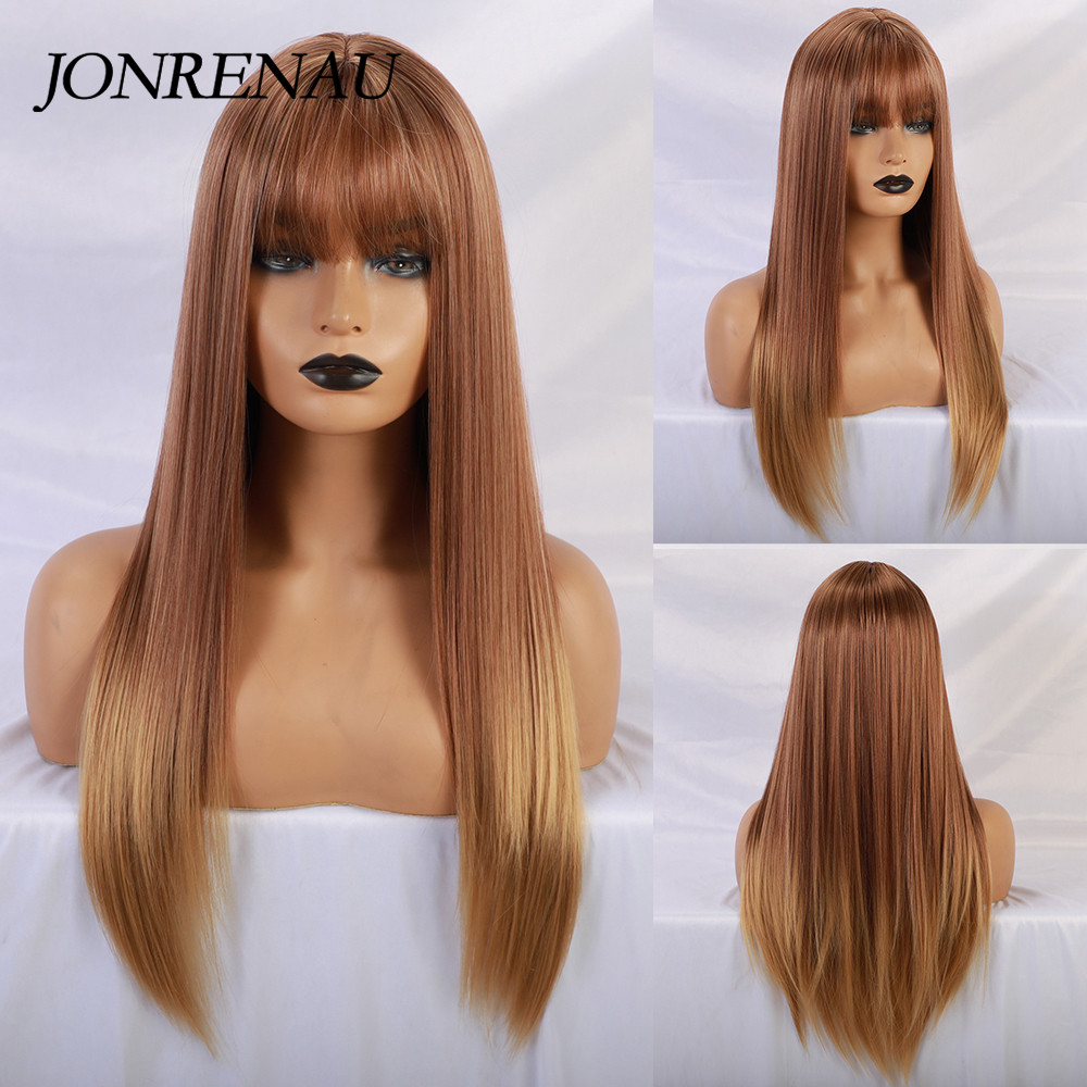 JONRENAU Long Straight Synthetic Wigs With Neat Bangs Ombre Brown To Blonde Wigs For Black Women/white Women