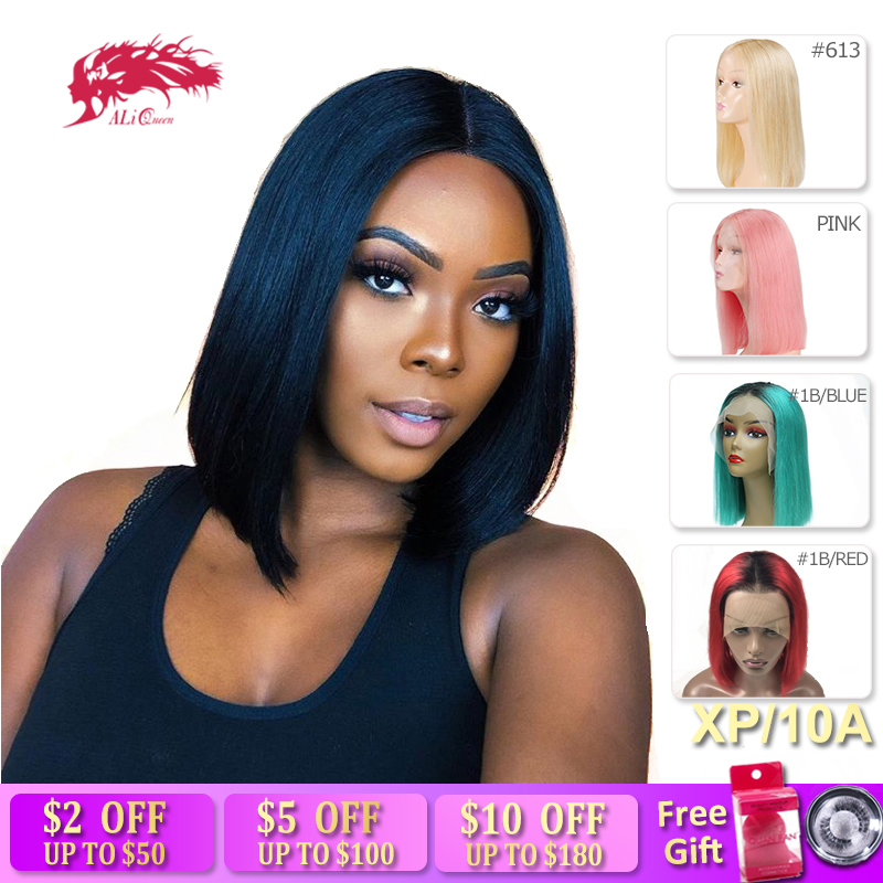 Ali Queen Hair 13X4 Short Human Hair Wigs 613/Red/Blue Wig High Ratio 8A Remy Brazilian Ombre Lace Front Wig Blonde Bob Wigs