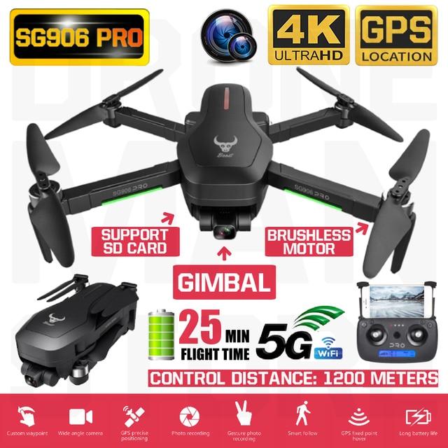RC Quadcopter SG906 Pro Drone GPS 4K HD แกนแกน Anti Shake มั่นคง Gimbal กล้อง 5G WIFI Brushless SD Card Drones มืออาชีพ