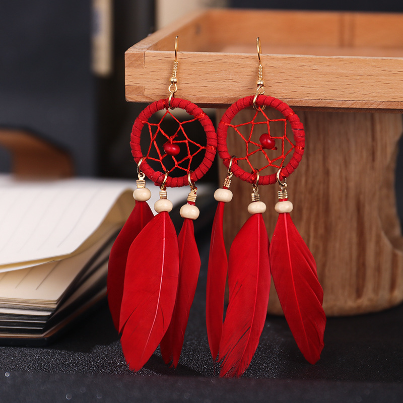 2020 Bohemian Red Dream Catcher Leaf Feather Ladies Earrings Women Summer Indian Jewelry Natural Wood Drop Dangle Earrings