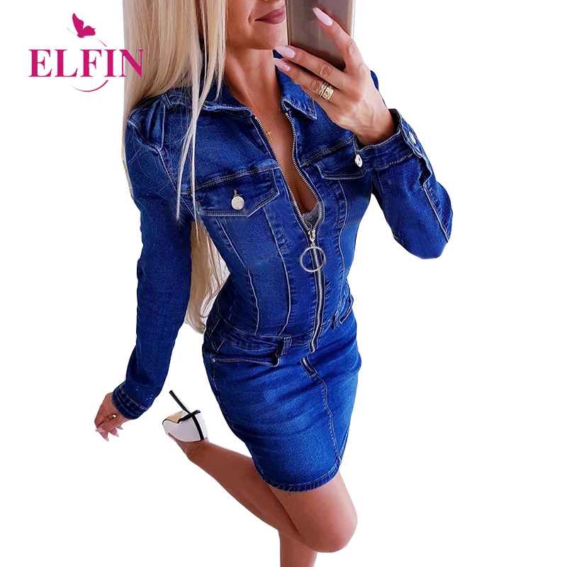 Preppy Denim Dress Women Blue Long Sleeve Slim Fit Turn Down Zipper Mini Party Casual Dresses Vestidos Korean Clothes WSJ4616R