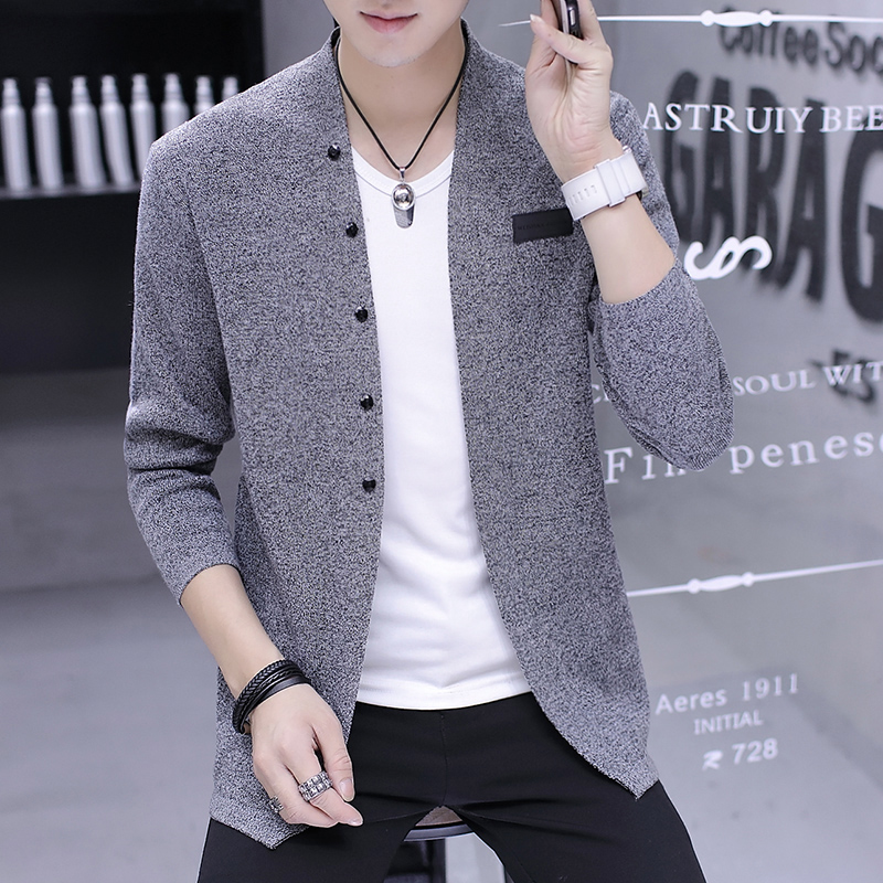 BOO 2020 Men V-neck Spring Thin Fashion Handsome Knitting Cardigan Youth Fashion Long-sleeved Sweater