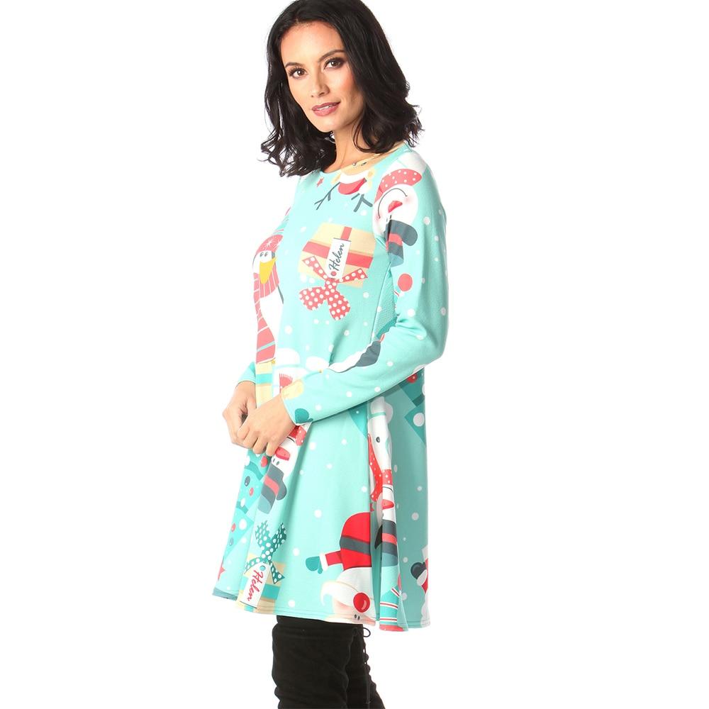 Print Long Sleeve Autumn Winter Christmas Dress Women 19 Casual Loose Short Party Dress Plus Size S-5XL Vestidos 32