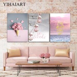 Розовые цветы, холст, настенная краска для рисования, скандинавский холст, колесо обозрения, Современная гостиная, художественное оформлен...