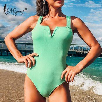 Miyouj jednolity kolor strój kąpielowy żebra strój kąpielowy V Neck strój kąpielowy Sexy body Halter One-wieloczęściowe kombinezony kostium kąpielowy typu Push Up tanie i dobre opinie CN (pochodzenie) COTTON Poliester spandex WOMEN Stałe Jeden sztuk Pływać Pasuje prawda na wymiar weź swój normalny rozmiar