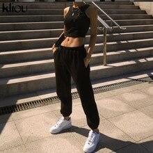 Kliou pamuk sweatpants kadınlar harem düz gevşek yüksek belli pantolon cepler İpli casual jogger streetwear İpli giysi