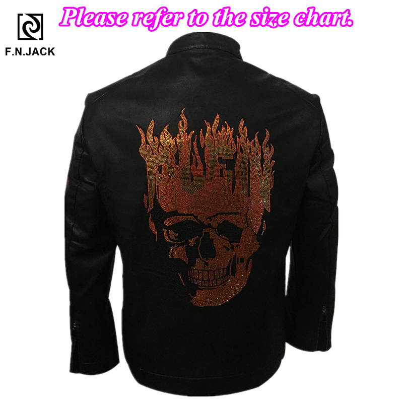 F.N.JACK Ghost Rider Men Leather Jacket Winter Jacket Long Sleeve Motorcycle Jacket  Faux Leather Chaqueta De Cuero Para Hombre