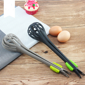 Multifunctional 3 in 1 Egg Beater Drinks Whisk Mixer Stirrer Nylon Noodle Tongs Pasta Spaghetti Tongs Food Clips Kichen Tools
