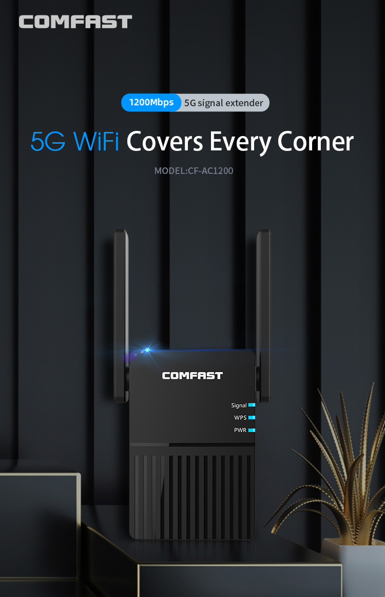 WiFi Repeater WiFi Extender 2.4G 5G WiFi Wireless Amplifier Router WiFi 5ghz Long-range Signal Repeater Wi-Fi 1200Mpbs