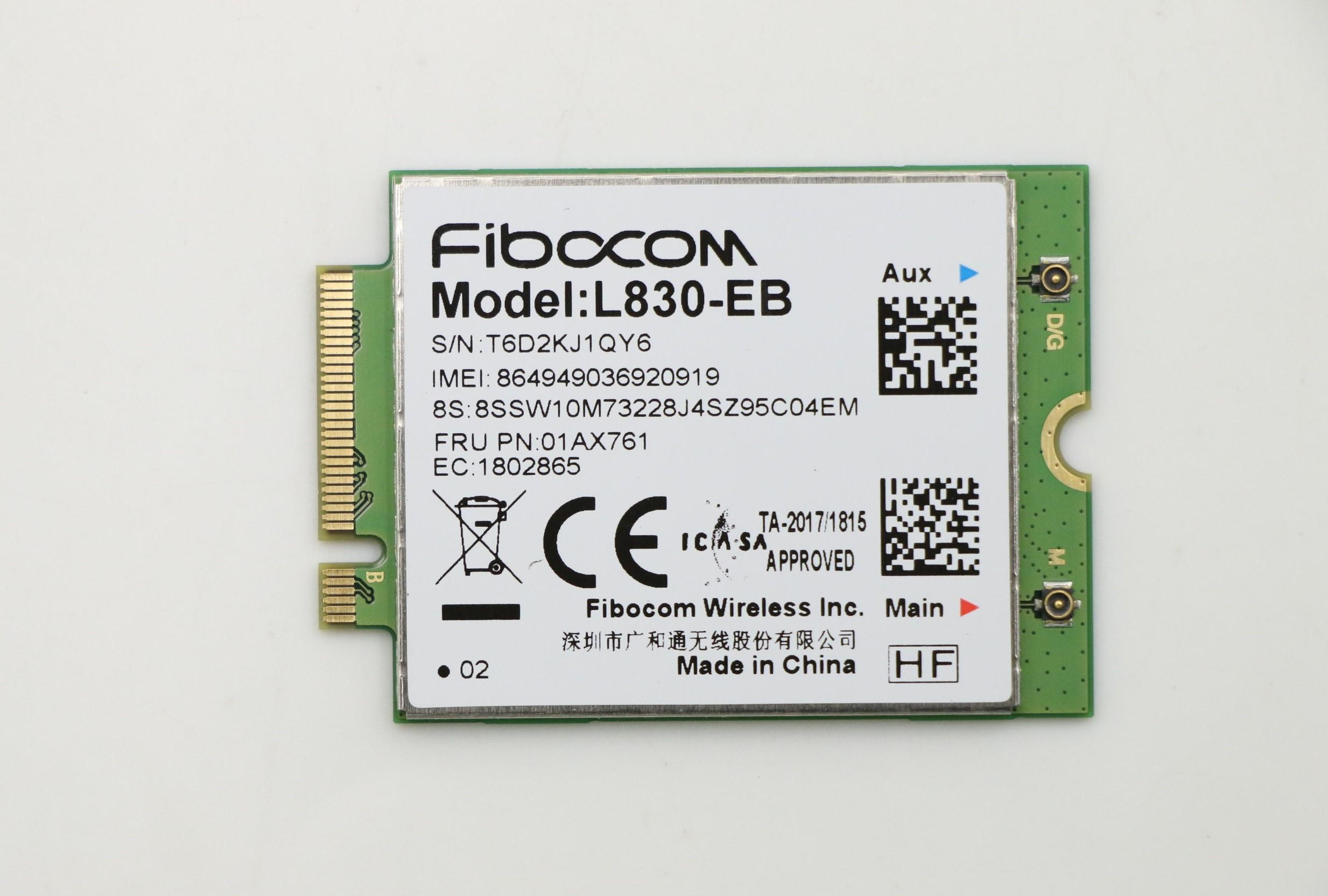 Fibocom L830-EB WWAN Card For Lenovo Thinkpad X280 T480 T480s T580 P52s L480 L580 T490 T590 P53s T490s X390 L490 L590 01AX761