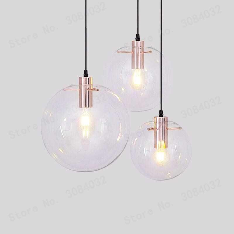 Luminaria negra de cocina con barra de bola de vidrio de alta calidad Nórdica