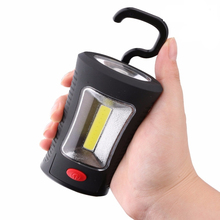 цена на LED Flashlight COB LED Work Lamp Flashlight Magnetic Folding Hook 3 X AAA Battery Flash Light Torch Linternas Lanterna