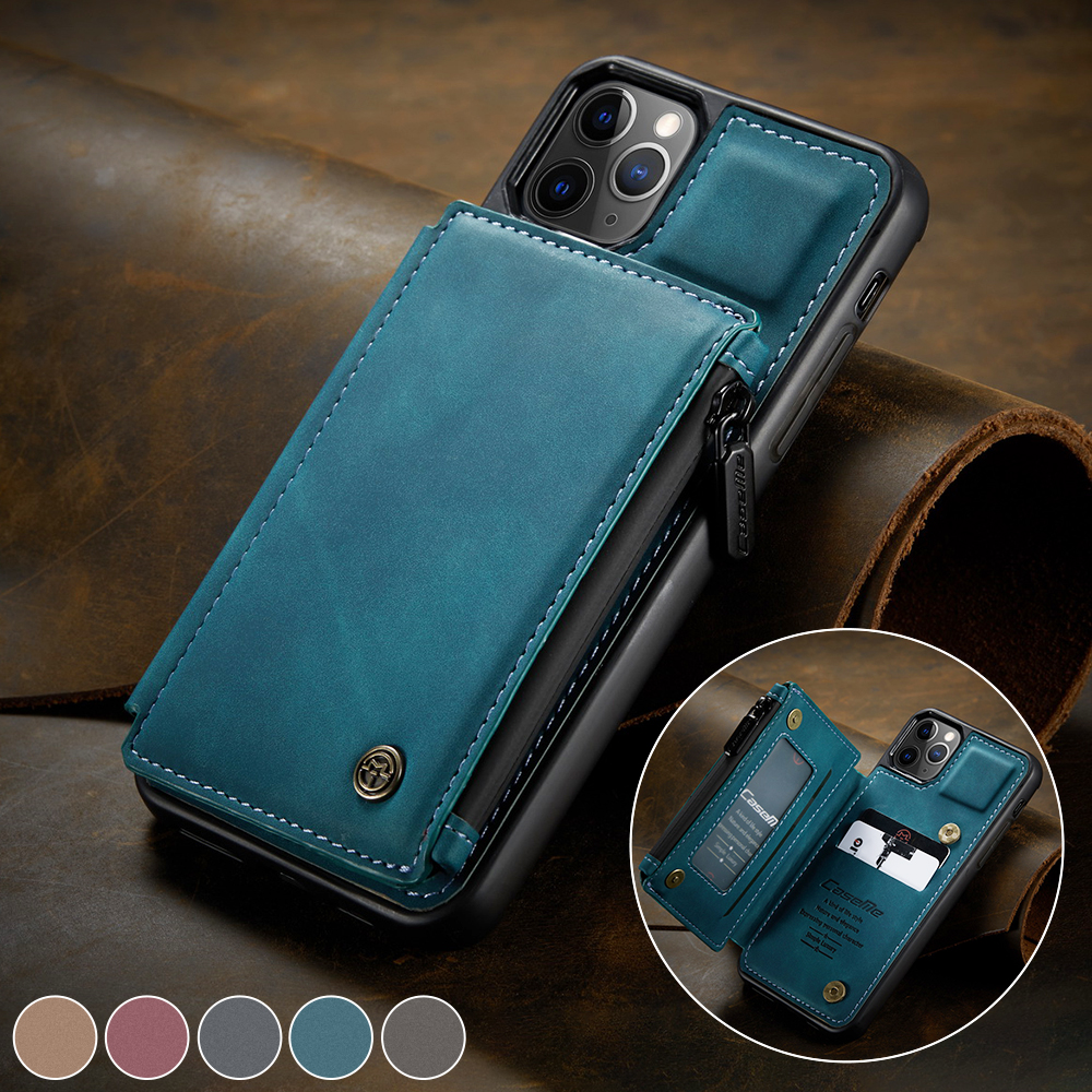 CaseMe Retro Leather Back Case For iPhone 12 11 Pro Max Wallet Card Slot For iPhone SE 12 mini 11 X S XR 7 8 Zipper Back Cover