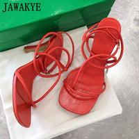 2021 Summer New Strappy Sandals Real Leather High Qautliy Summer Party Wedding Shoes Women High Heel Flip Flop Thong Sandals