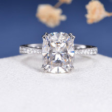 CxsJeremy 14K White Gold 4ct 8*10mm Cushion Cut Moissanite Engagement Ring Double Claw Prongs Wedding Band Bride Gift(China)