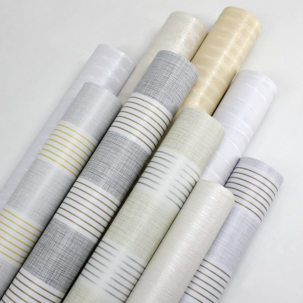 PVC Self Adhesive Wallpaper Simple Plain Color Stripes Linen Finish Living Room Bedroom Hotel Engineering Wallpaper Adhesive Pap