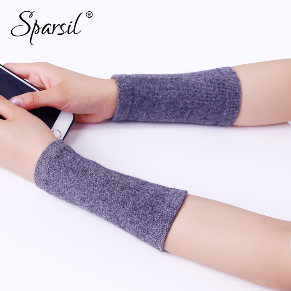 Spasril Men&Women Cashmere Knit Bracer Gloves Solid Color Arm Wrist Warmers Winter Unisex Mittens 14x8 Elastic Sport Protectors