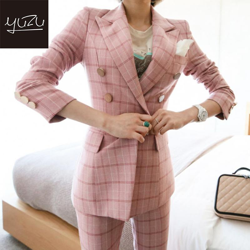 Suit Women Elegant Pink Plaid Blazer 2 Piece Set Long Sleeve Double Breasted Checked Coat Pant Suits Formal Office Work Jacket