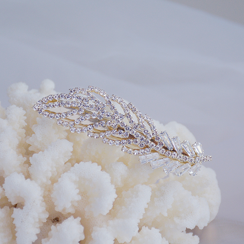 Korean Exquisite Crystal Zirconia Feather Hairpin Hairgrips 14k Real Gold Cute Hair accessories Pendant Jewelry-4