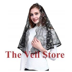 Image 4 - ISHSY Embroided Floral Lace Women Catholic Mantilla Veils for Church Chapel infinity HeadCover Latin Mass Velo de Novia Negra