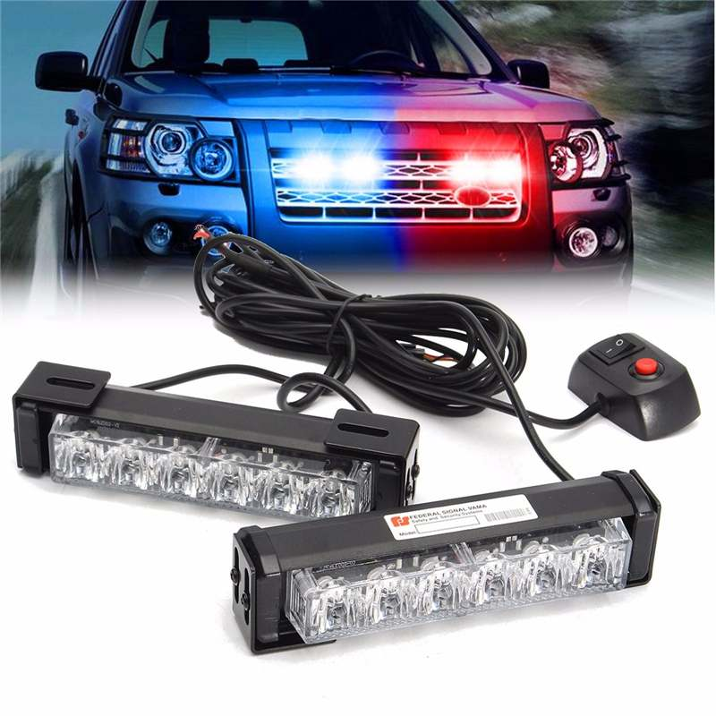 2 In 1 LED Strobes Lights Front Grille Flashlight Warning Lamp 12V 6W For SUV Truck Off Road Car Waterproof Lantern Spotlight