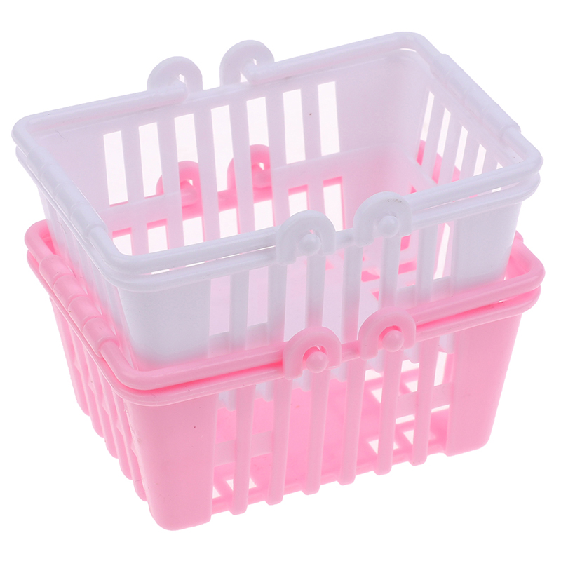 New Shopping Basket Pretend Play Toys Kids Mini Supermarket Shopping Hand Basket Model Doll House Miniature Furniture