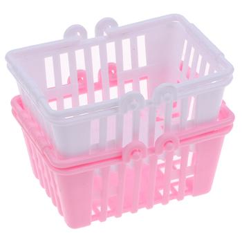 Nowy kosz na zakupy udawaj zabawki dla dzieci Mini Supermarket zakupy koszyk ręczny lalka model dom miniaturowe meble tanie i dobre opinie 2-4 lat 5-7 lat