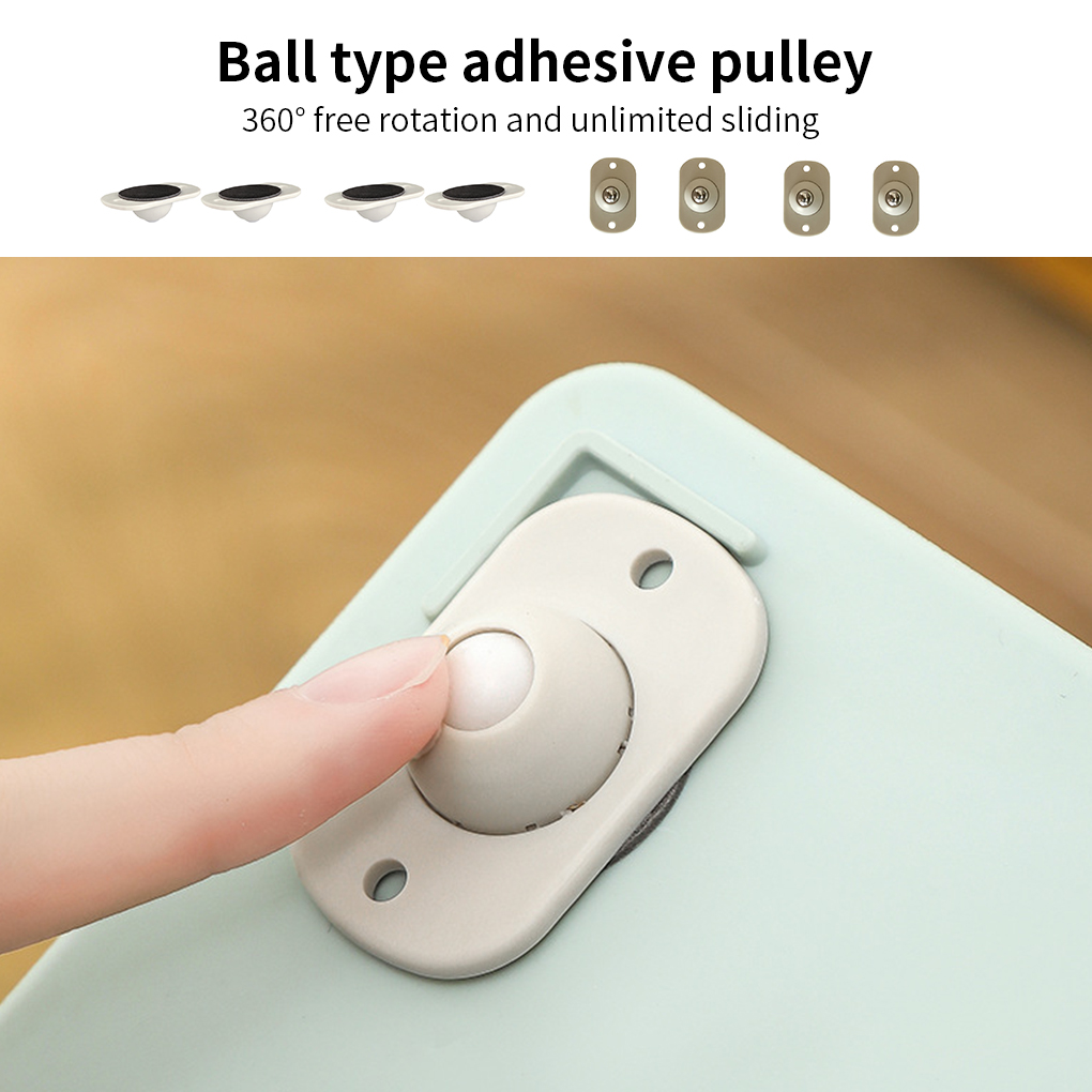 Adhesive Casters Pulley Rollers for Cabinet Drawer Storage Box Trash Can Small Furniture Hardware Wheel Box Skateboard 4pcs /set