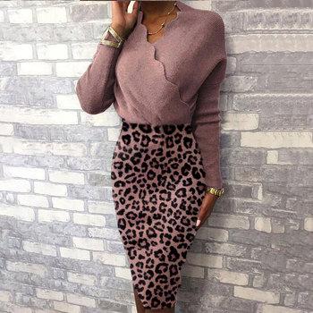 Vestido de punto con cuello en V para mujer 2021 Leopardo de...