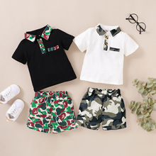 Baby Boy Outfit Toddler Boys Clothing Set Baby Boy Clothes Turn-down Collar Camouflage Patchwork Short Sleeve Pants Kids Summer
