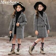 Menoea dziewczęce płaszcze 2020 jesień i zima koreańska wersja szara chusta Houndstooth odzież wierzchnia duże dziecięce wełniane ubrania