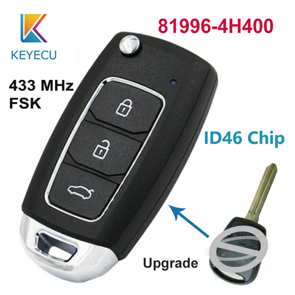 KEYECU Upgraded Folding Remote Key Fob 3 Button 433MHz ID46 for Hyundai Starex H 1 H1 2008 2015 81996 4H400 819964H400|Car Key| |  - title=