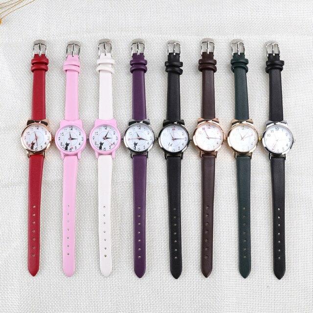 Moda feminina relógio de pulso pulseira conjunto crianças relógios pulseira de couro gato senhoras relógio presentes estudante relógios bonito dos desenhos animados relógio 5