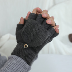 1 Pairs Autumn Winter Knitted Half Finger Gloves Flipped Cover Flip Men Fingerless Gloves Outdoor Hand Wrist Warmer handschoenen