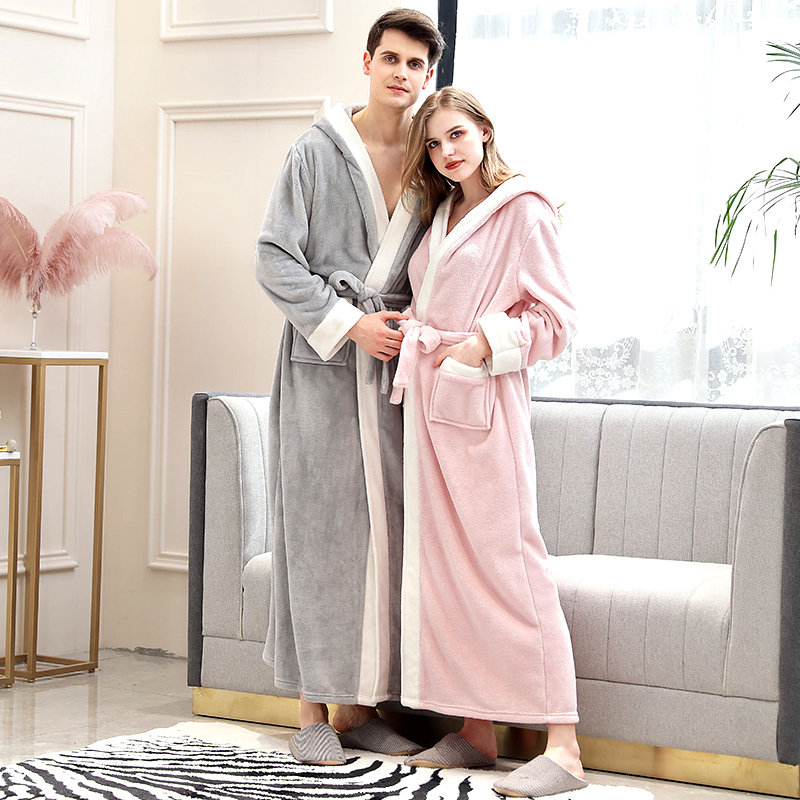 Women Winter Extra Long Flannel Warm Bathrobe Kimono Coral Fleece Plus Size Bath Robe Brides Sexy Dressing Gown Men Sleepwear