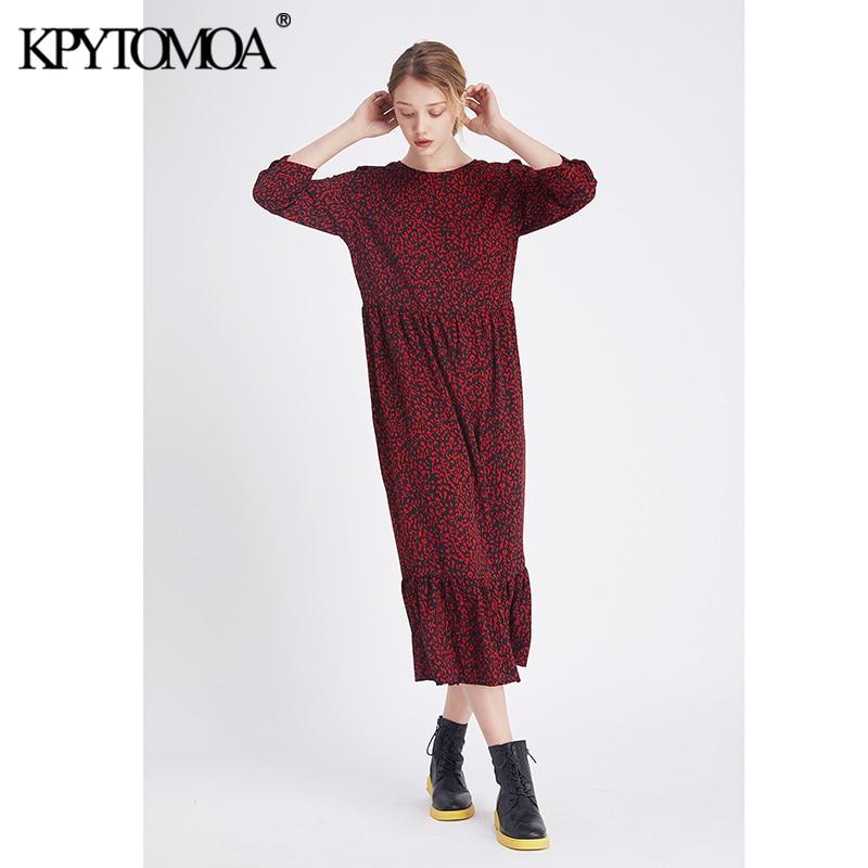 Vintage Stylish Leopard Print Ruffled Midi Dress Women 2020 Fashion O Neck Three Quarter Sleeve Elegant Dresses Vestidos Mujer