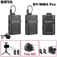 Boya BY-WM4 Mark II/BY-WM4 Pro kablosuz stüdyo kondenser mikrofon yaka mikrofonu röportaj Mic iPhone DSLR kamera