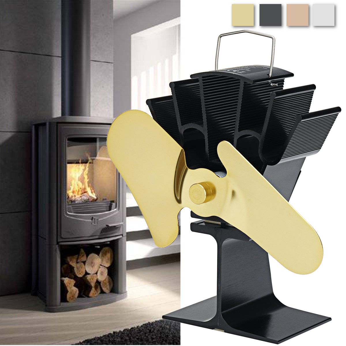 2 Blades Aluminum Heat Powered Stove Fan Wood Log Fireplace Fan Burner Thermal Powered Fireplace Parts Ecofan Heat Distribution