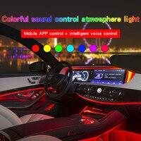 1set Voice Sound Active RGB LED Car Interior Light Multicolor EL Neon Strip Light remote control Atmosphere Light 6m 12V