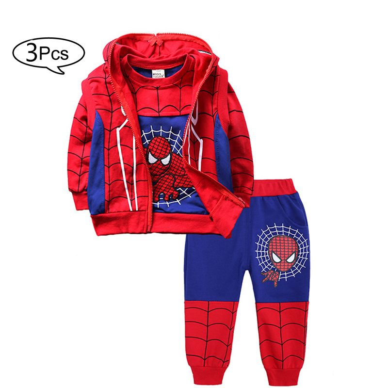 Children Clothes Autumn Winter Baby Boys Clothes SpiderMan T-shirts +Pants 3pcs Sports Suits Costume For Boys Kids Clothes Set Best Selling Product Children Shoes Shoes