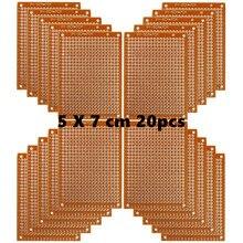 銅 Perfboard 20 個紙複合 PCB ボード (5 センチメートル x 7 センチメートル) ユニバーサルブレッドボード片面プリント基板