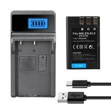 Batterie EN-EL9a EN EL9 pour Nikon, appareil photo, D40, D60, D40X, D5000, D300, L15, ENEL9A, 1300mAh, chargeur 8.4V
