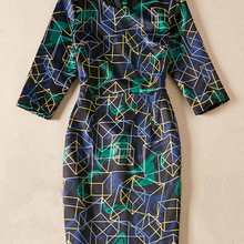 Geometric Print Women Sheath Dress Round Neck 3/4 Sleeve Casual Dresses