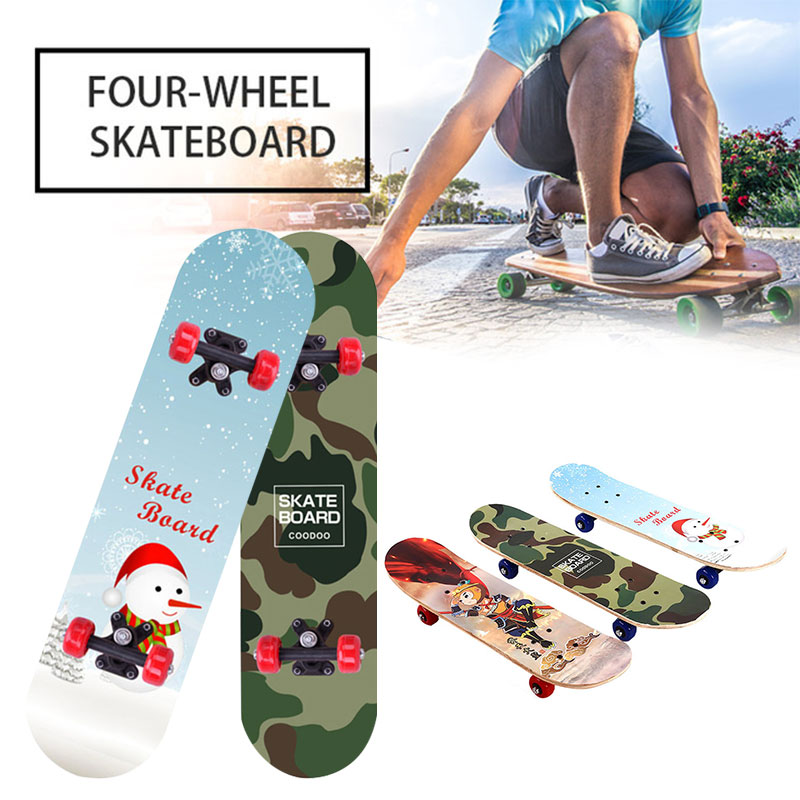 Popular 60cm Maple Four Wheel Scooter Wood Board Complete Skateboard Skate Board High Speed Extreme Sports Deck Skateboard
